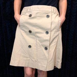 Ann Taylor Loft double breasted khaki skirt